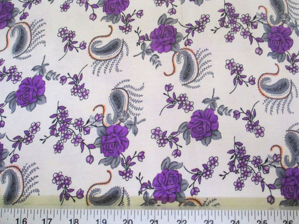 Discount Fabric Challis Rayon Purple Floral Gray Paisley 2 yds @ $6.99 403J