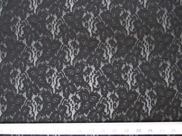 Discount Fabric Stretch Mesh Lace Black Floral 802LC