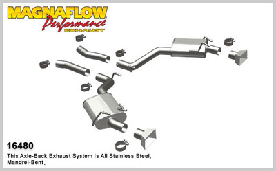 """Magnaflow 2.5"""" Stainless Steel Street Series Axle-Back for 2010+ Camaro SS V8 6.2L; Excl. Convertible (GM PERFORMANCE PACKAGE ONLY)"""