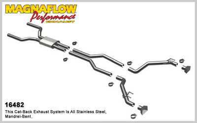 """Magnaflow 2.5"""" Stainless Steel Competition Series Cat-Back for 2010+ Camaro SS V8 6.2L; Excl. Convertible (GM PERFORMANCE PACKAGE ONLY)"""