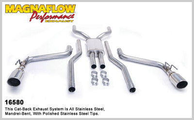 """Magnaflow 2.5"""" Stainless Steel Competition Series Cat-Back for 2010+ Camaro SS V8 6.2L; Excl. Convertible"""