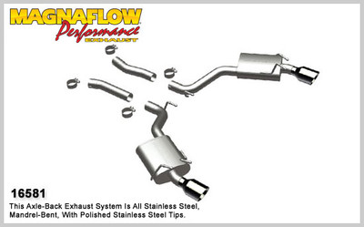 """Magnaflow 2.5"""" Stainless Steel Street Series Cat-Back for 2010+ Camaro SS V8 6.2L; Excl. Convertible (4"""" Tips)"""