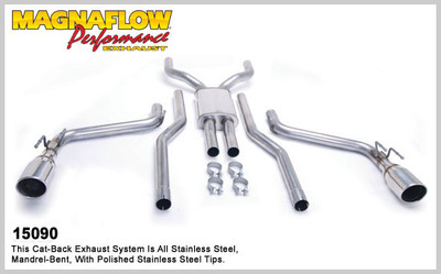 Magnaflow Competition Series Stainless Steel Cat-Back System for 2011 Camaro SS V8 6.2L; Incl. Convertible; 4 x 9 x 14in. Muffler; 2.5in. Tubing; DUAL SPLIT REAR EXIT