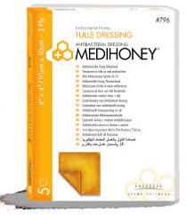 Derma Sciences 796 MEDIHONEY ANTIBACTERIAL HONEY TULLE DRESSING, 10CM X 10CM,  BX/5