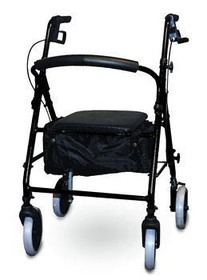 ISG KDBLK Invacare SOFT SEAT ALUMINUM ROLLATOR WITH CURVED BACK, BLACK (NON-RETURNABLE) (Invacare KDBLK)