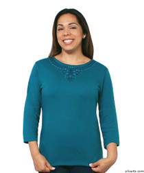 Silvert's 138530203 Womens Beautiful Embroidered T Shirt Top, Size Large, TEAL