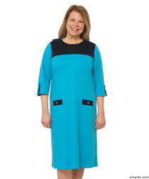 Silvert's 210500104 Womens Warm Nursing Home Wheelchair Adaptive Clothing Dress, Size X-Large, BLUE/NAVY