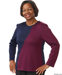 Silvert's 231900201 Adaptive Tops For Women , Size Small, NAVY/AMETHYST
