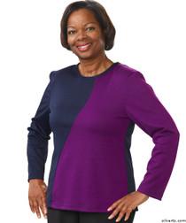 Silvert's 231900101 Adaptive Tops For Women , Size Small, NAVY/PURPLE
