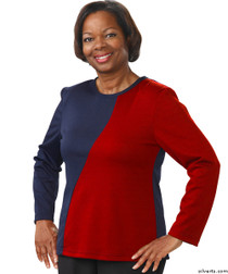 Silvert's 231900404 Adaptive Tops For Women , Size X-Large, NAVY/RED