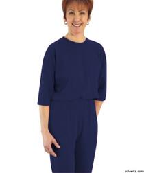 Silvert's 233100203 Womens Adaptive Alzheimer's Anti Strip Jumpsuits , Size Medium, NAVY