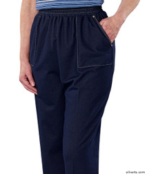 Silvert's 240900103 Adaptive Jean Pants For Women, Open Side Super Soft Stretch Denim Pant, Size Large, DENIM