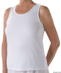 Silvert's 280400103 Womens Cotton Open Back Adaptive Undervests, Size Large, WHITE
