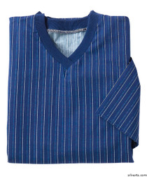 Silvert's 501201303 Mens Adaptive Cotton Hospital Patient Nightgowns , Size Medium, NAVY PINSTRIPE