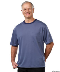 Silvert's 505400201 Adaptive Tshirt Top For Men , Size Small, STEEL BLUE