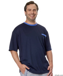 Silvert's 505400305 Adaptive Tshirt Top For Men , Size 2X-Large, NAVY