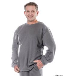 Silvert's 510300502 Mens Adaptive Fleece Sweatshirt Top , Size Small, GREY