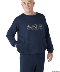 Silvert's 510300102 Mens Adaptive Fleece Sweatshirt Top , Size Small, NAVY