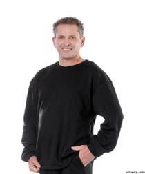 Silvert's 510300204 Mens Adaptive Fleece Sweatshirt Top , Size Large, BLACK