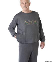 Silvert's 510300304 Mens Adaptive Fleece Sweatshirt Top , Size Large, GREY MIX