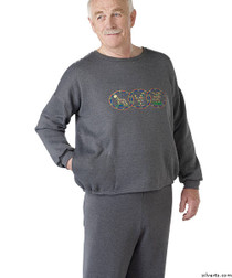 Silvert's 510300305 Mens Adaptive Fleece Sweatshirt Top , Size X-Large, GREY MIX