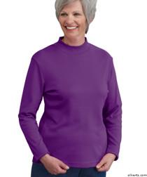 Silvert's 130600302 Womens Long Sleeve Mock Turtleneck Shirt, Size Small, BORDEAU