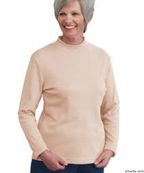 Silvert's 130600104 Womens Long Sleeve Mock Turtleneck Shirt, Size Large, CREAM