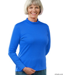 Silvert's 130600206 Womens Long Sleeve Mock Turtleneck Shirt, Size 2X-Large, COBALT
