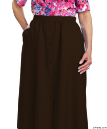 Silvert's 131300203 Womens Regular Elastic Waist Skirt With Pockets , Size 8, CHOCOLATE