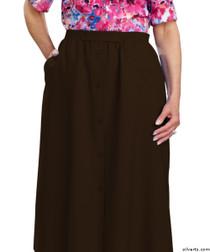 Silvert's 131300205 Womens Regular Elastic Waist Skirt With Pockets , Size 12, CHOCOLATE