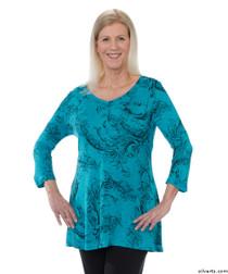 Silvert's 131400201 Womens Long Tunic Top, Size Small, TURQUOISE