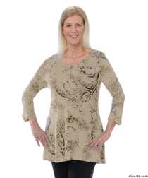 Silvert's 131400103 Womens Long Tunic Top, Size Large, SAND