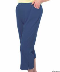 Silvert's 131600402 Womens Arthritis Elastic Waist Pull On Capris Pants, Size Small, MIDNIGHT BLUE