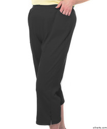 Silvert's 131600204 Womens Arthritis Elastic Waist Pull On Capris Pants, Size Large, BLACK