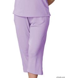 Silvert's 131600305 Womens Arthritis Elastic Waist Pull On Capris Pants, Size X-Large, LILAC