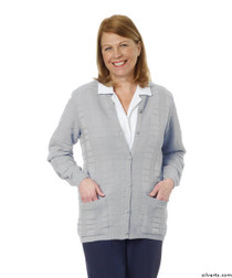Silvert's 132600202 Womens Cardigan Sweater With Pockets , Size Small, SILVER GREY