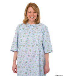 Silvert's 161300304 Womens Regular Short Cotton Sleepwear Nightgown , Size Large, BLUE