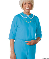 Silvert's 233300902 Womens Adaptive Alzheimers Clothing Anti Strip Suit Jumpsuit , Size Small, TURQUOISE