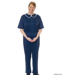 Silvert's 233300604 Womens Adaptive Alzheimers Clothing Anti Strip Suit Jumpsuit , Size Large, NAVY