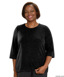 Silvert's 234600401 Adaptive Sweater Top For Women , Size Small, BLACK