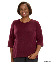 Silvert's 234600302 Adaptive Sweater Top For Women , Size Medium, WINE