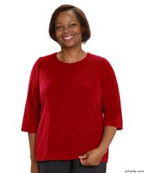 Silvert's 234600103 Adaptive Sweater Top For Women , Size Large, RED