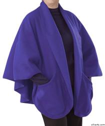 Silvert's 302431001 Womens Stylish Cozy Two Pocket Fleece Cape, Size ONE, VIOLET