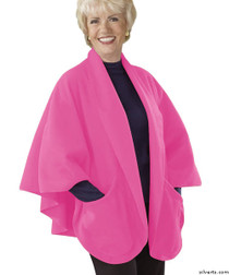 Silvert's 302431101 Womens Stylish Cozy Two Pocket Fleece Cape, Size ONE, CANDY FLOSS