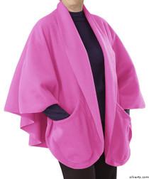 Silvert's 302430701 Womens Stylish Cozy Two Pocket Fleece Cape, Size ONE, PINK