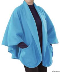 Silvert's 302431701 Womens Stylish Cozy Two Pocket Fleece Cape, Size ONE, POWDER BLUE