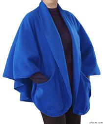 Silvert's 302431401 Womens Stylish Cozy Two Pocket Fleece Cape, Size ONE, ROYAL