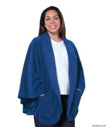 Silvert's 302430201 Womens Stylish Cozy Two Pocket Fleece Cape, Size ONE, FRENCH BLUE