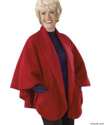 Silvert's 302430101 Womens Stylish Cozy Two Pocket Fleece Cape, Size ONE, RED