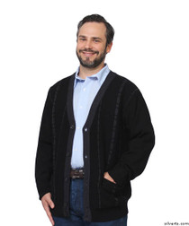 Silvert's 503730101 Stylish Quality Men's Cardigan Sweater With Pockets, Size Small, BLACK